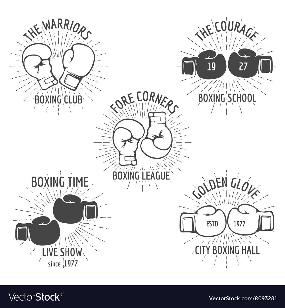 Vintage boxing logo set vector image