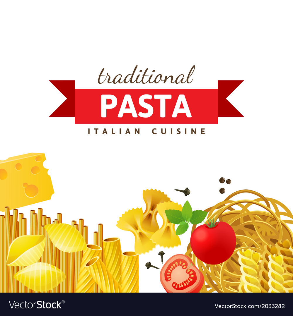Background with different pasta types vector image