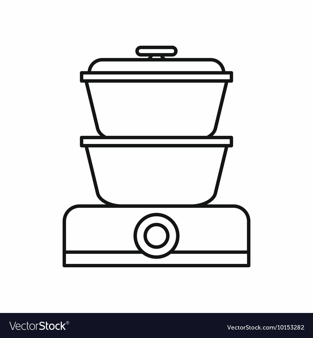 Double boiler icon outline style Royalty Free Vector Image