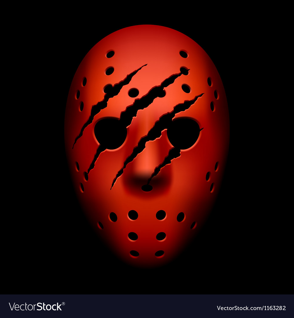 Red hockey mask with traces of claws vector image