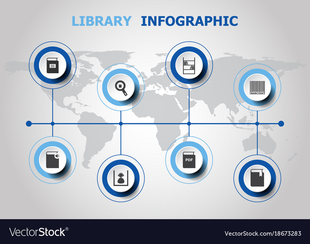 Infographic design with library icons royalty free vector infographic design with library icons vector image ccuart Choice Image