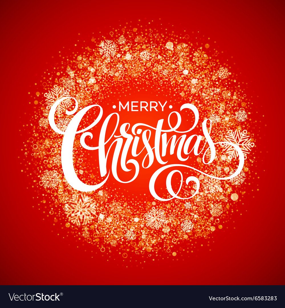 Red Snowflake Christmas Wreath vector image