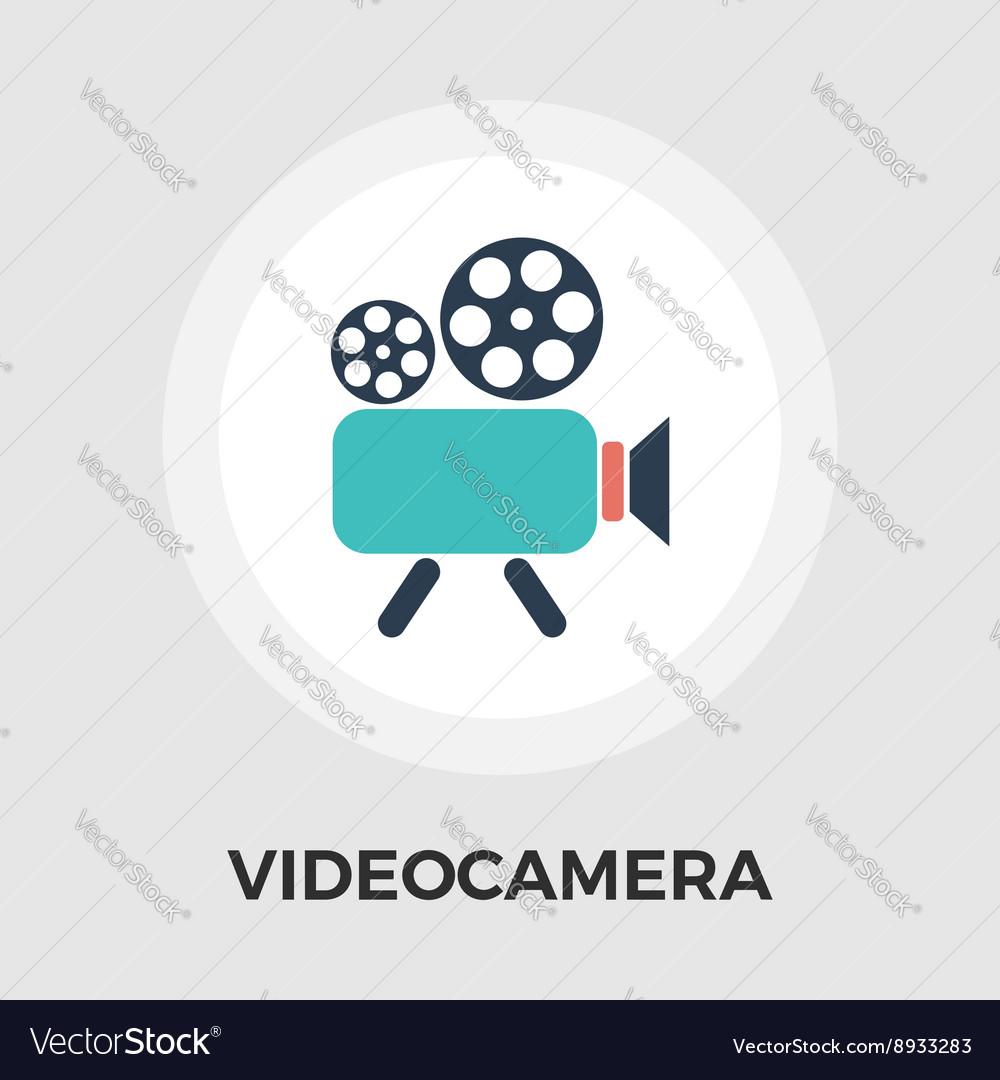 Video Camera Flat Icon vector image