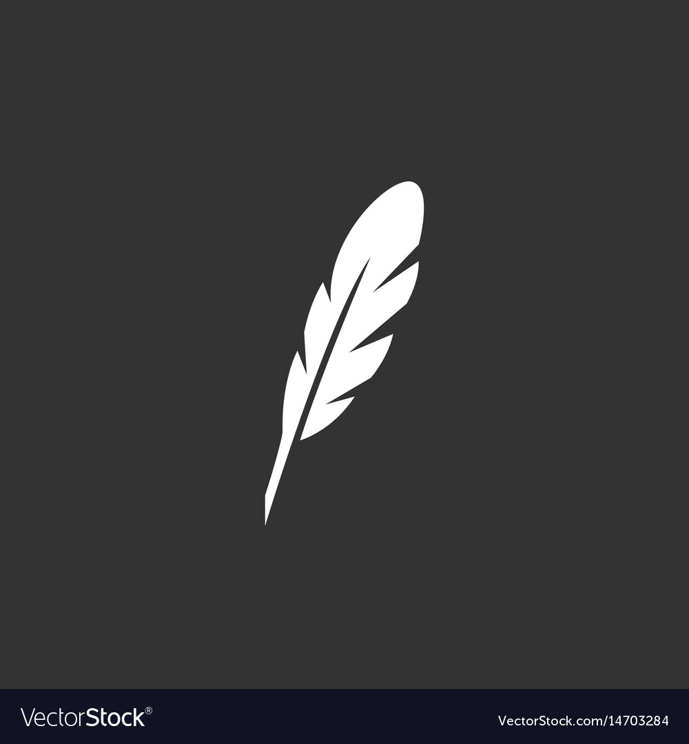 Feather logo icon on black background vector image
