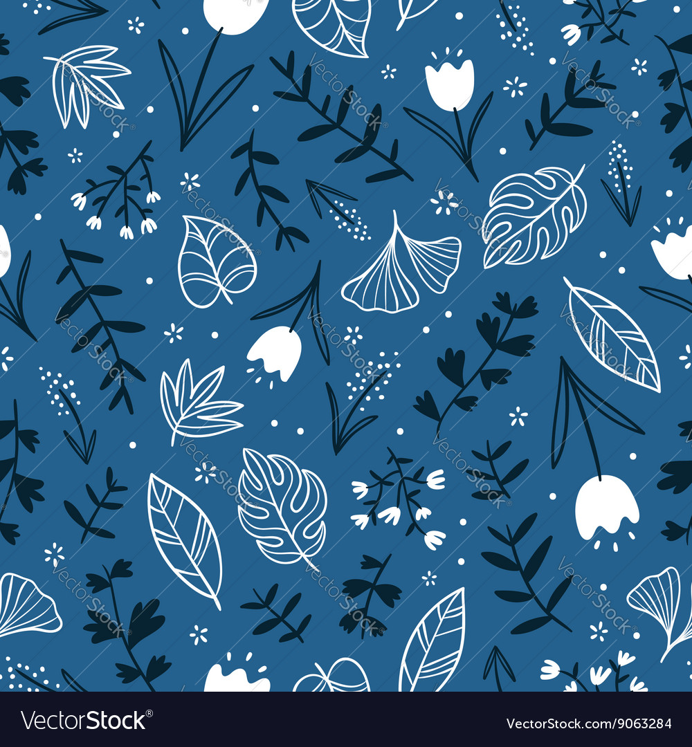 Flowers on blue vector image