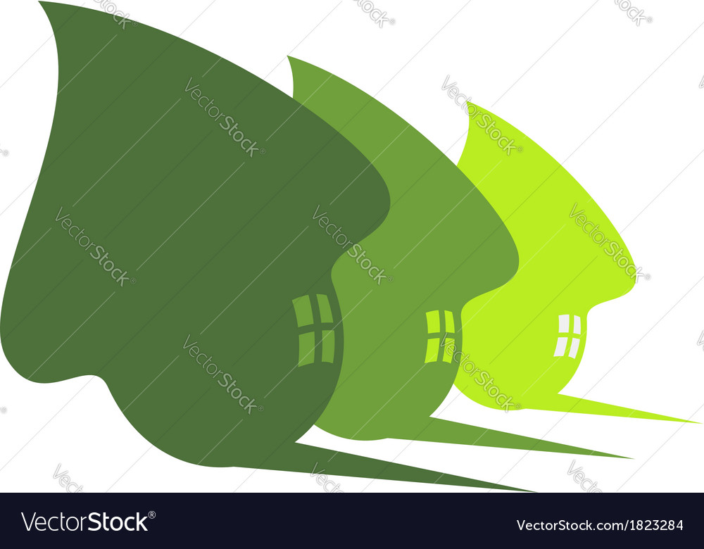 Three cute green eco houses vector image