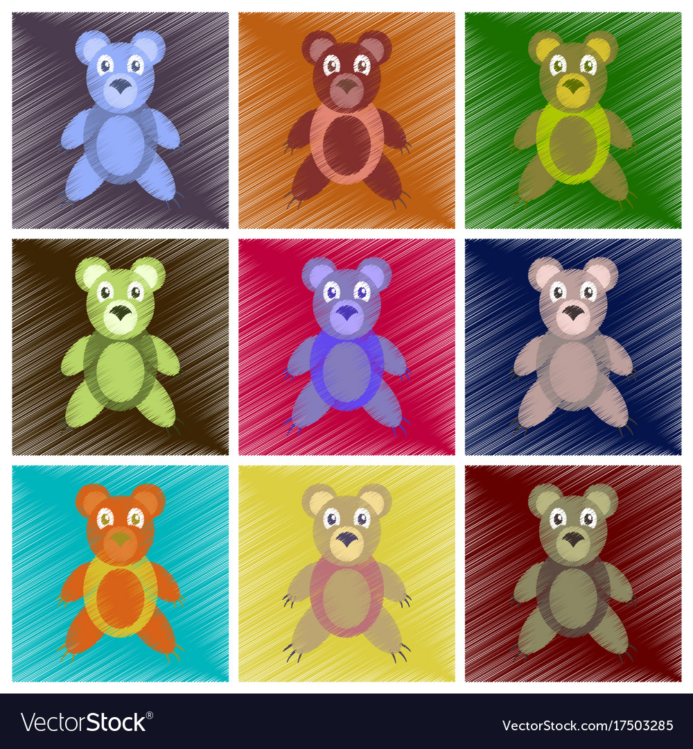 Assembly flat shading style icons toy bear vector image