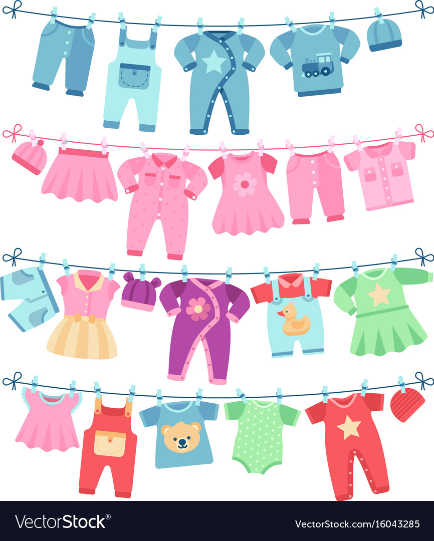 Baby Clothes Drying Clothesline Vector