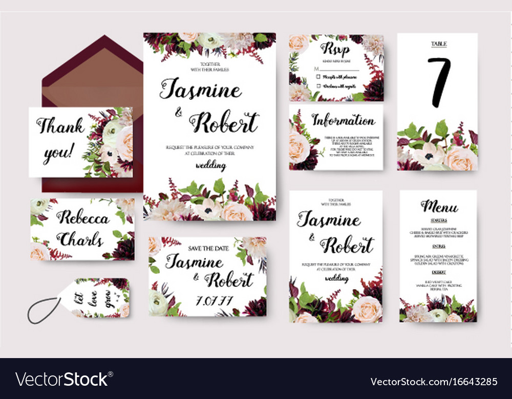 Wedding Invitation Card Designer: Wedding Invitation Flower Invite Card Design Vector Image