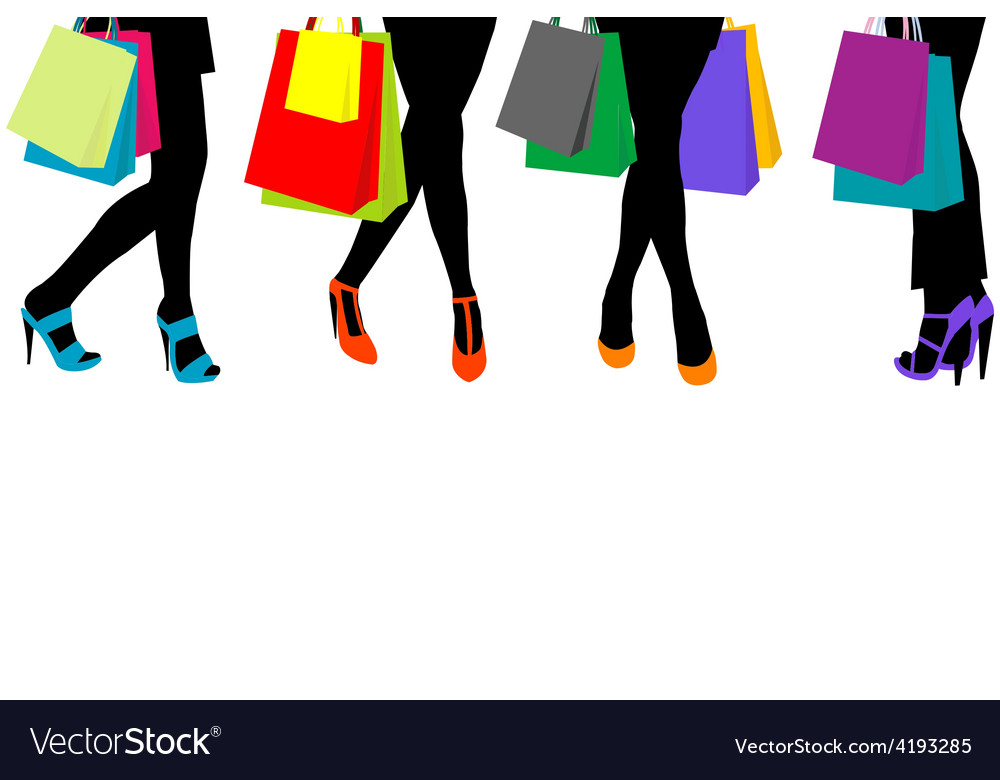 Women silhouettes legs with high heels and vector image