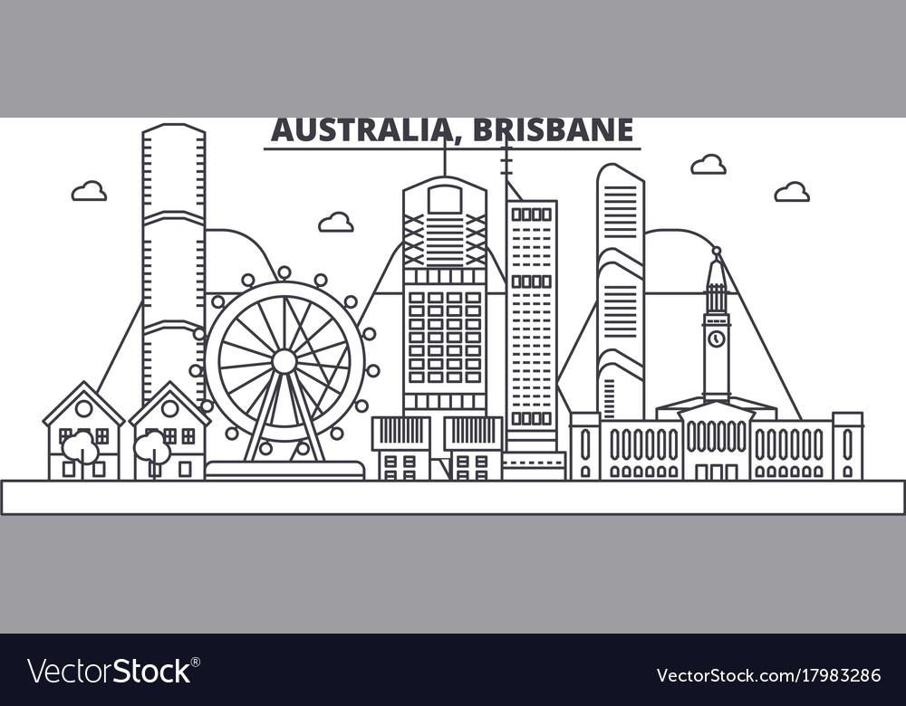 Australia brisbane architecture line skyline vector image