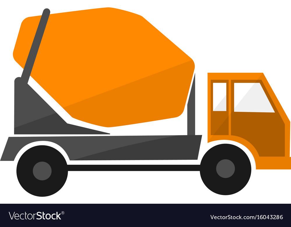 Concrete mixing truck flat design industrial vector image