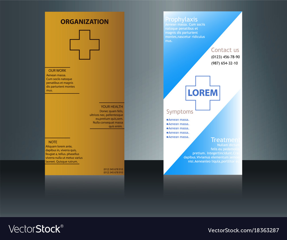 Health care brochure for clinic with doctors