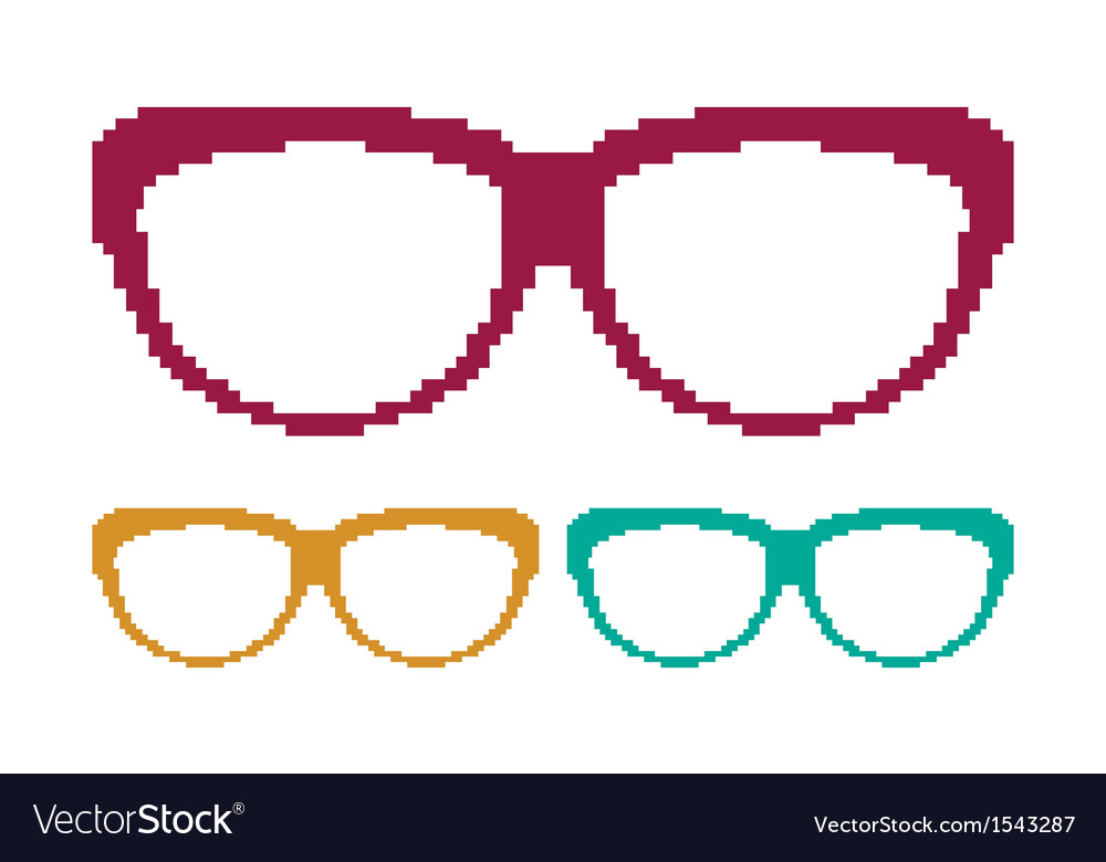 Pixel sun glasses set vector image
