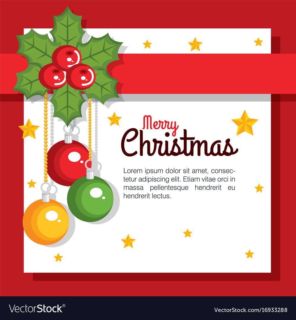 Merry christmas card greeting balls hang flower vector image kristyandbryce Choice Image