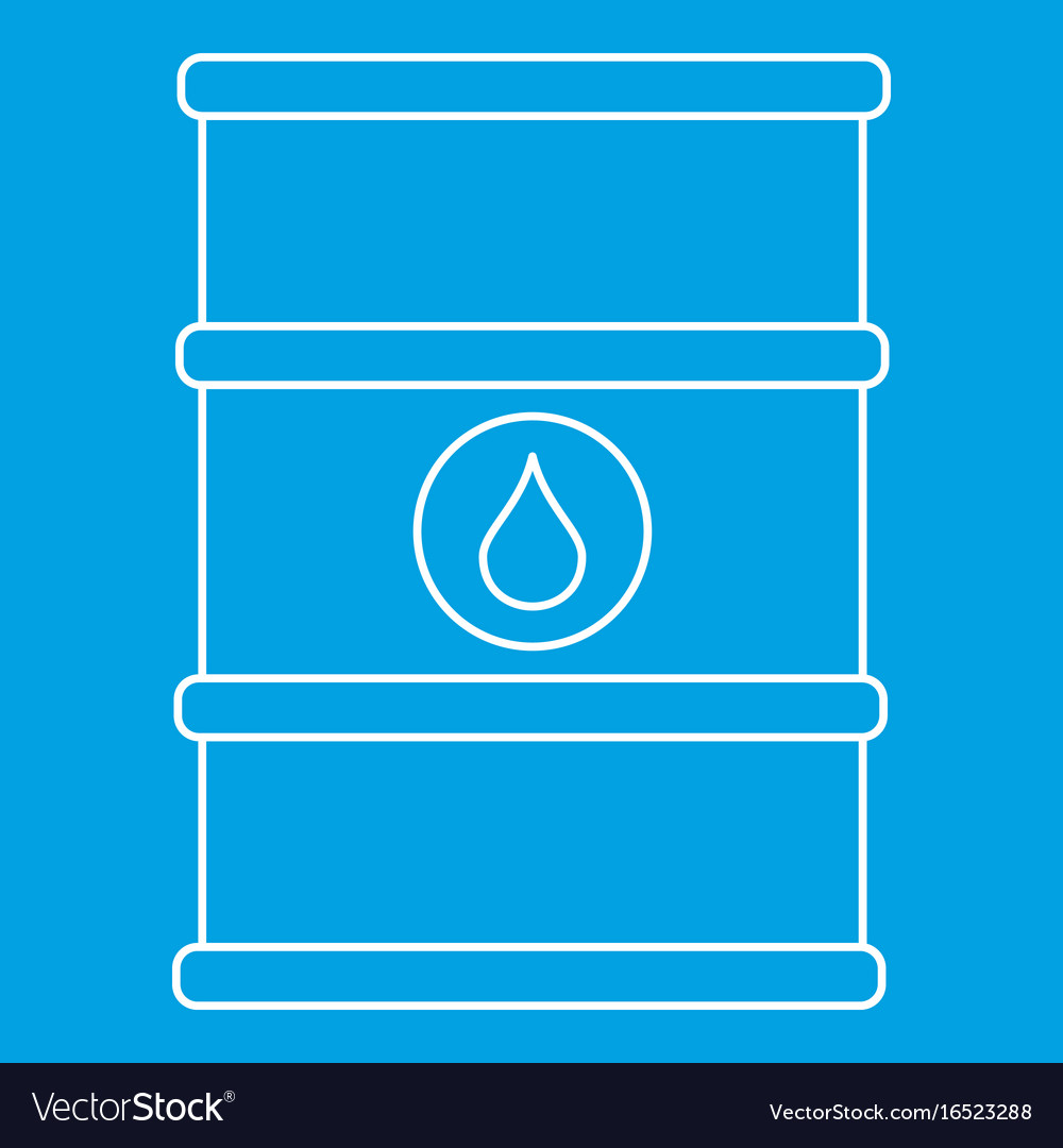 Oil barrel with label icon outline style vector image