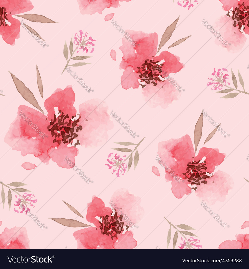 Watercolor flowers seamless pattern vector image