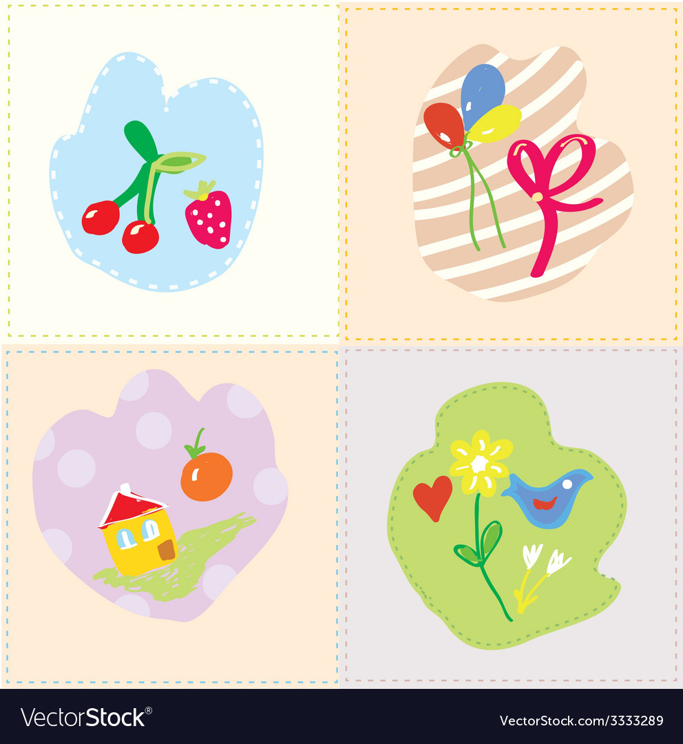 Baby cards set - cut design vector image