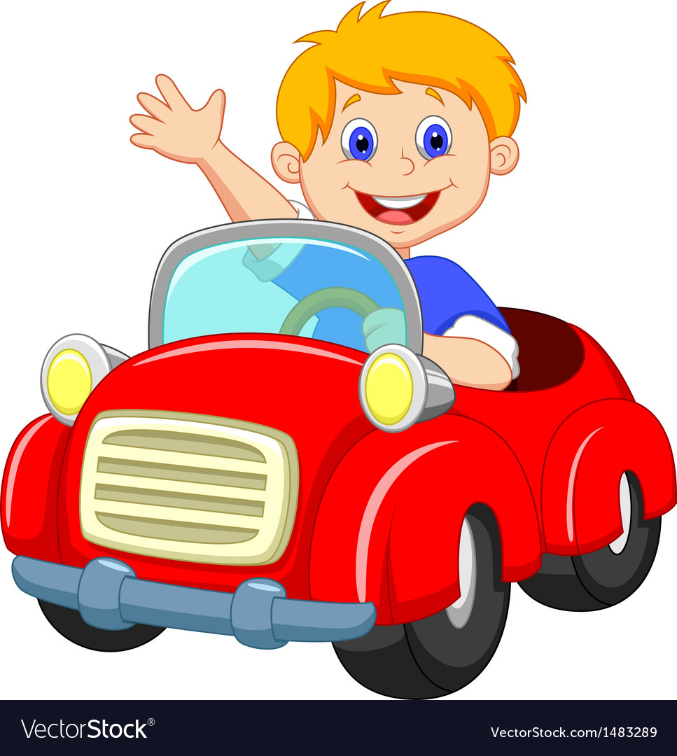 Boy cartoon in the red car vector image