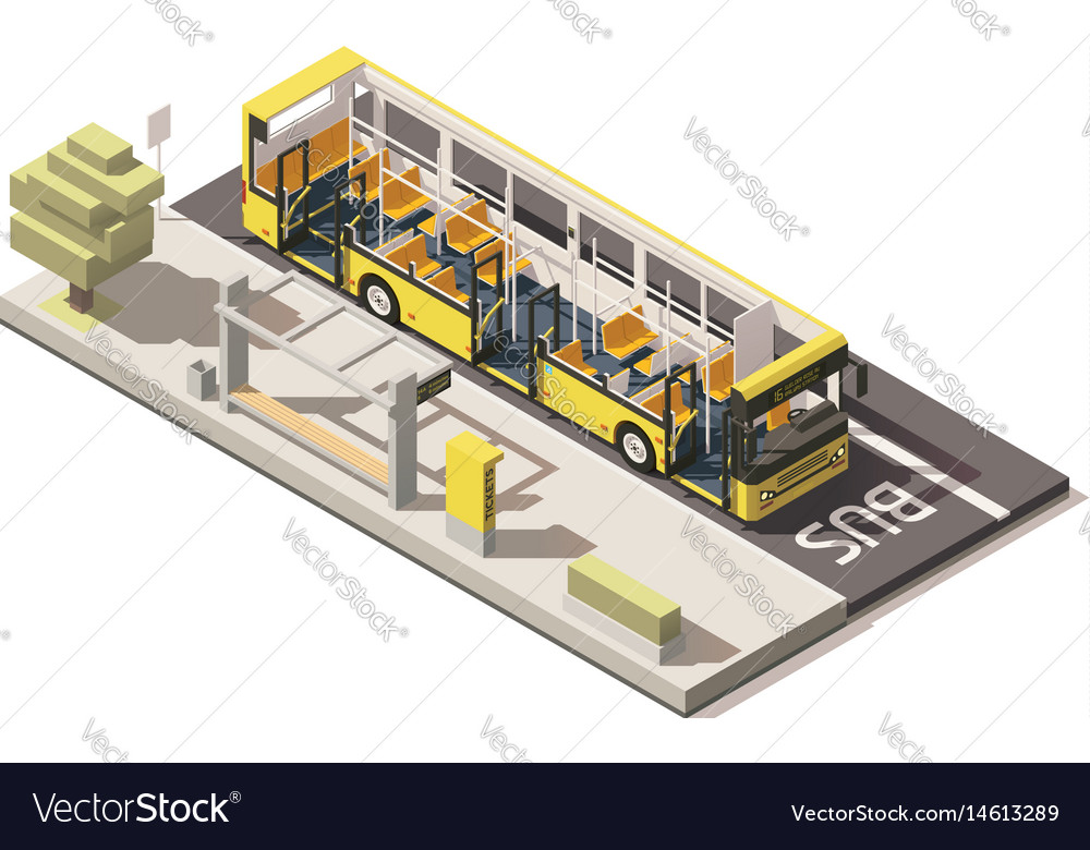 Isometric low poly bus near the bus stop vector image
