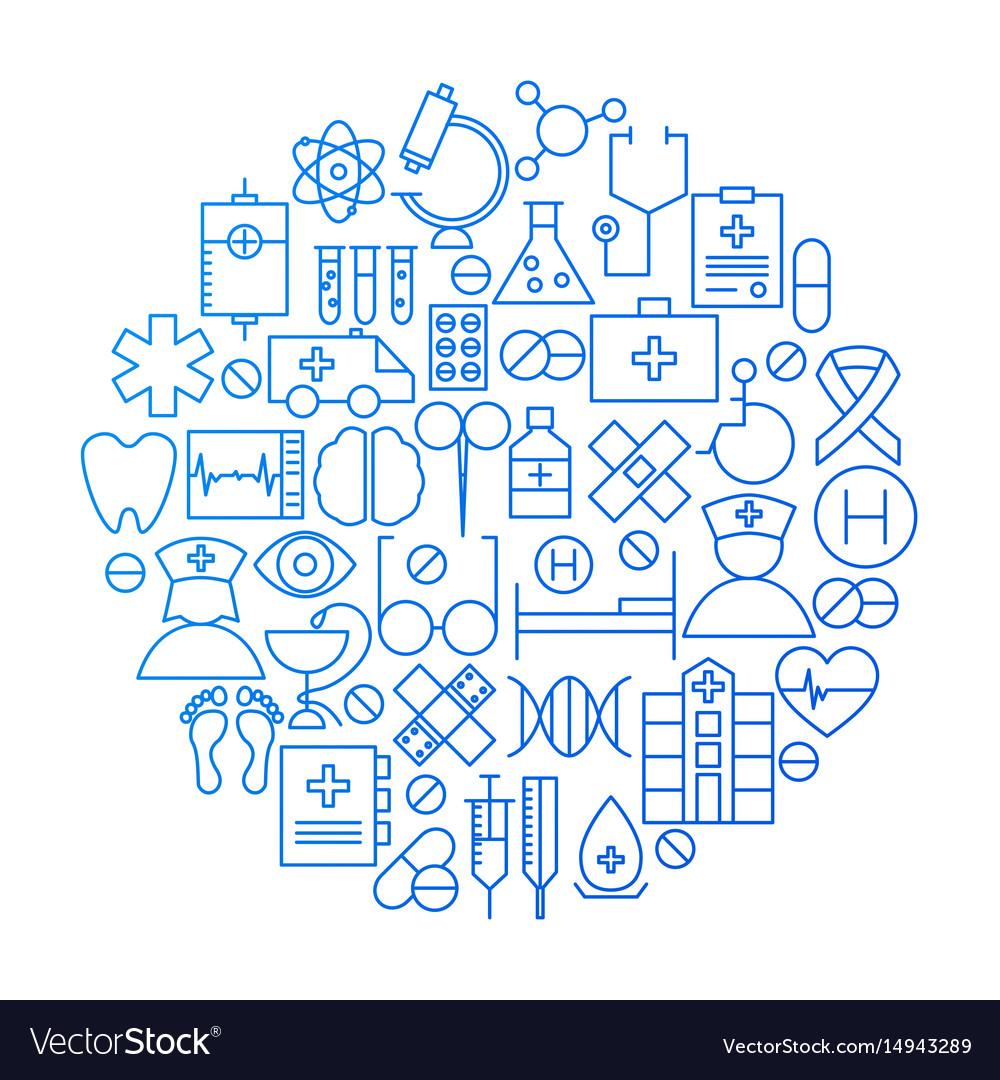 Medicine line icon circle design vector image