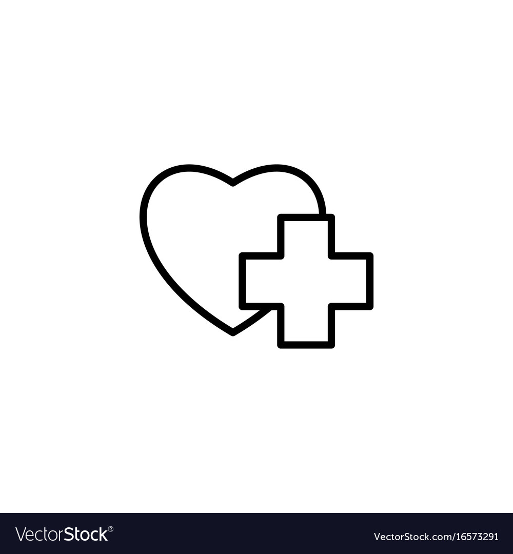 Thin line heart with medical sign icon on white vector image