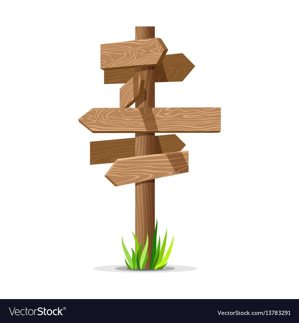 Wooden arrow empty signboard vector image