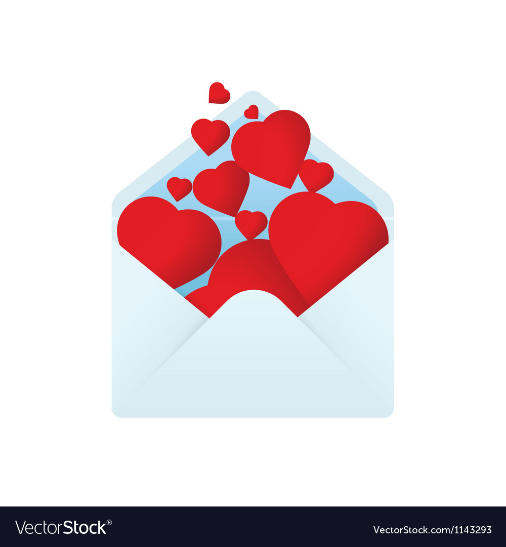 Envelope with filled hearts vector image