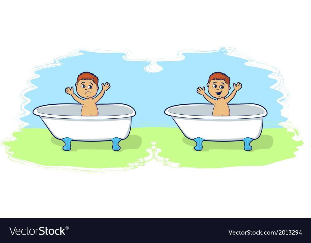 Bath Time for Cartoon Boy vector image