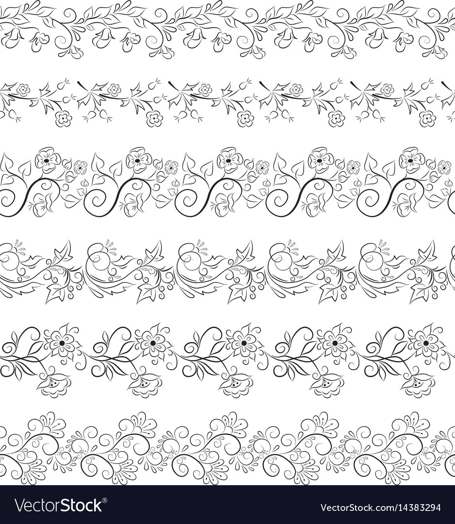 Black seamless floral border collection vector image