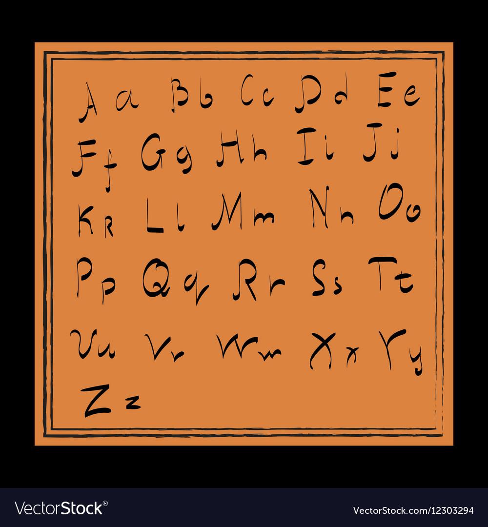 English letters on orange background vector image