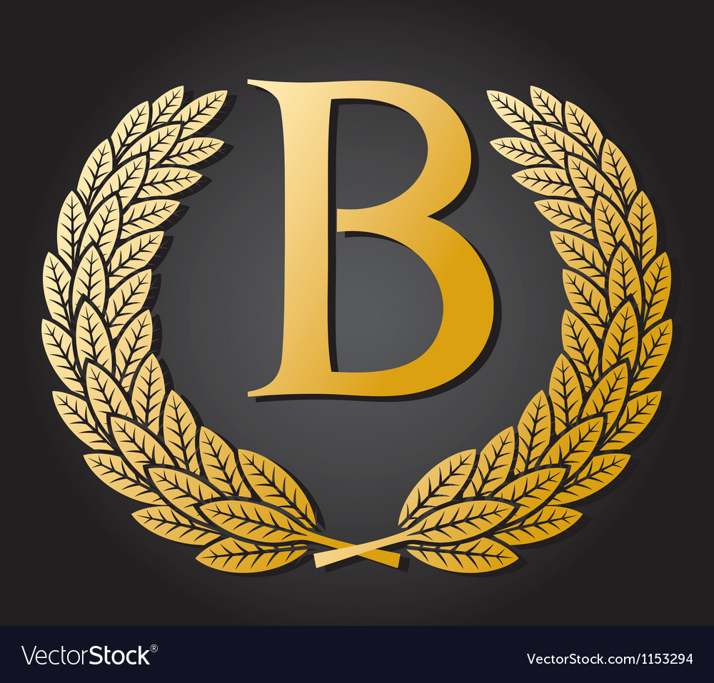 Letter B and gold laurel wreath vector image