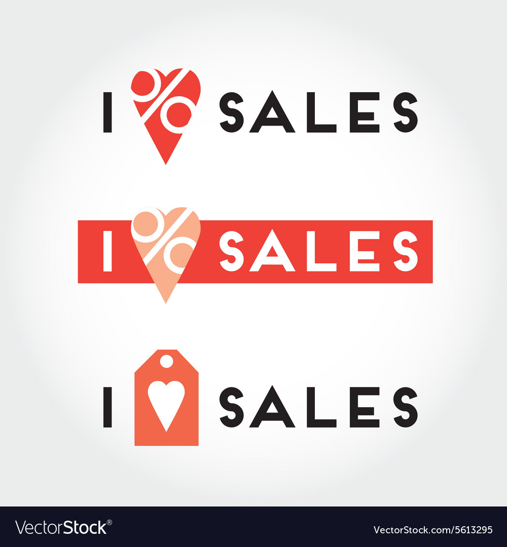 I love sales signs and symbols set for retail vector image