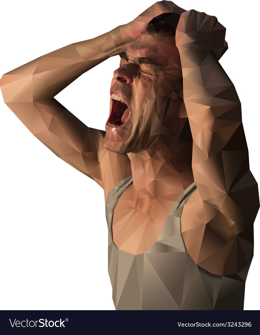 Frustrated man scream design with polygons vector image