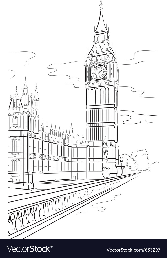 Drawing big ben of tower in london uk vector image