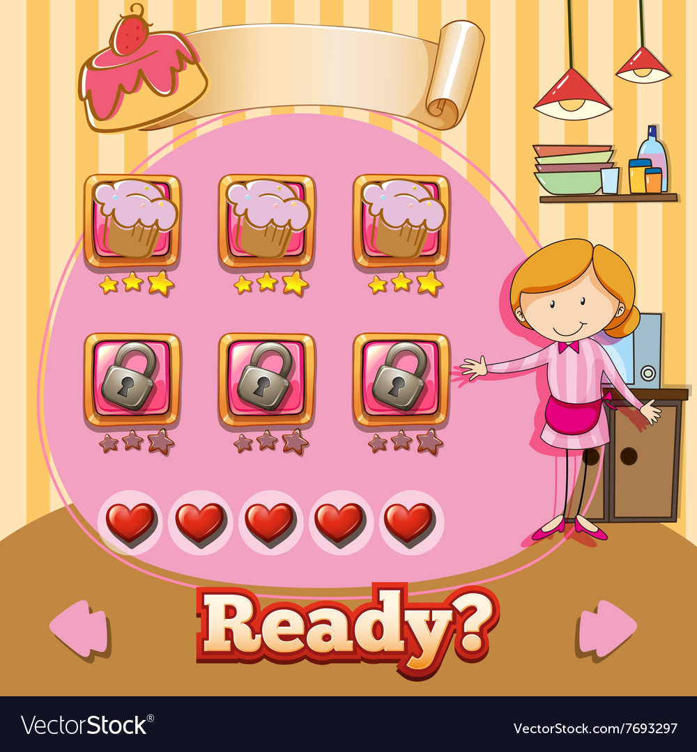 Game template with baker and cake background vector image