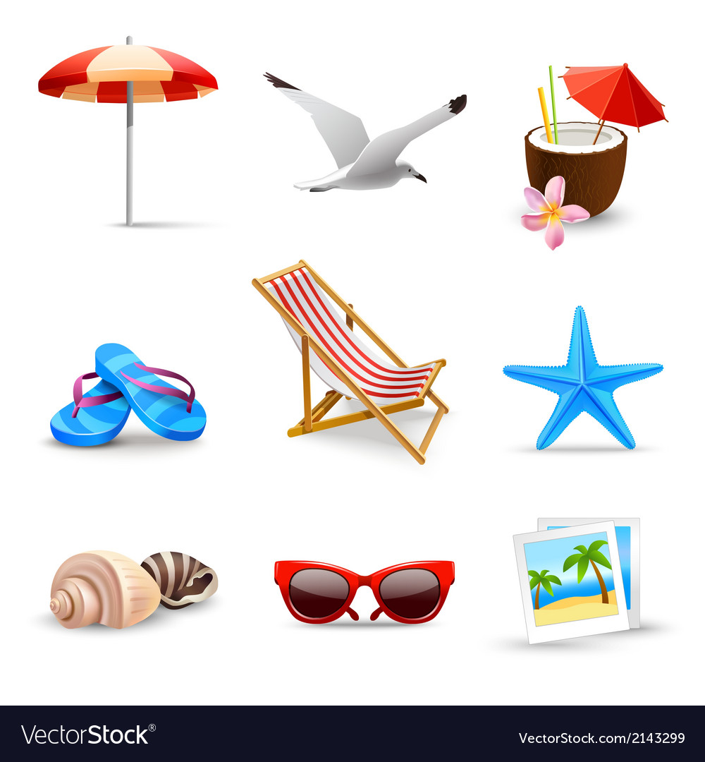 Realistic Summer Vacation Icons vector image