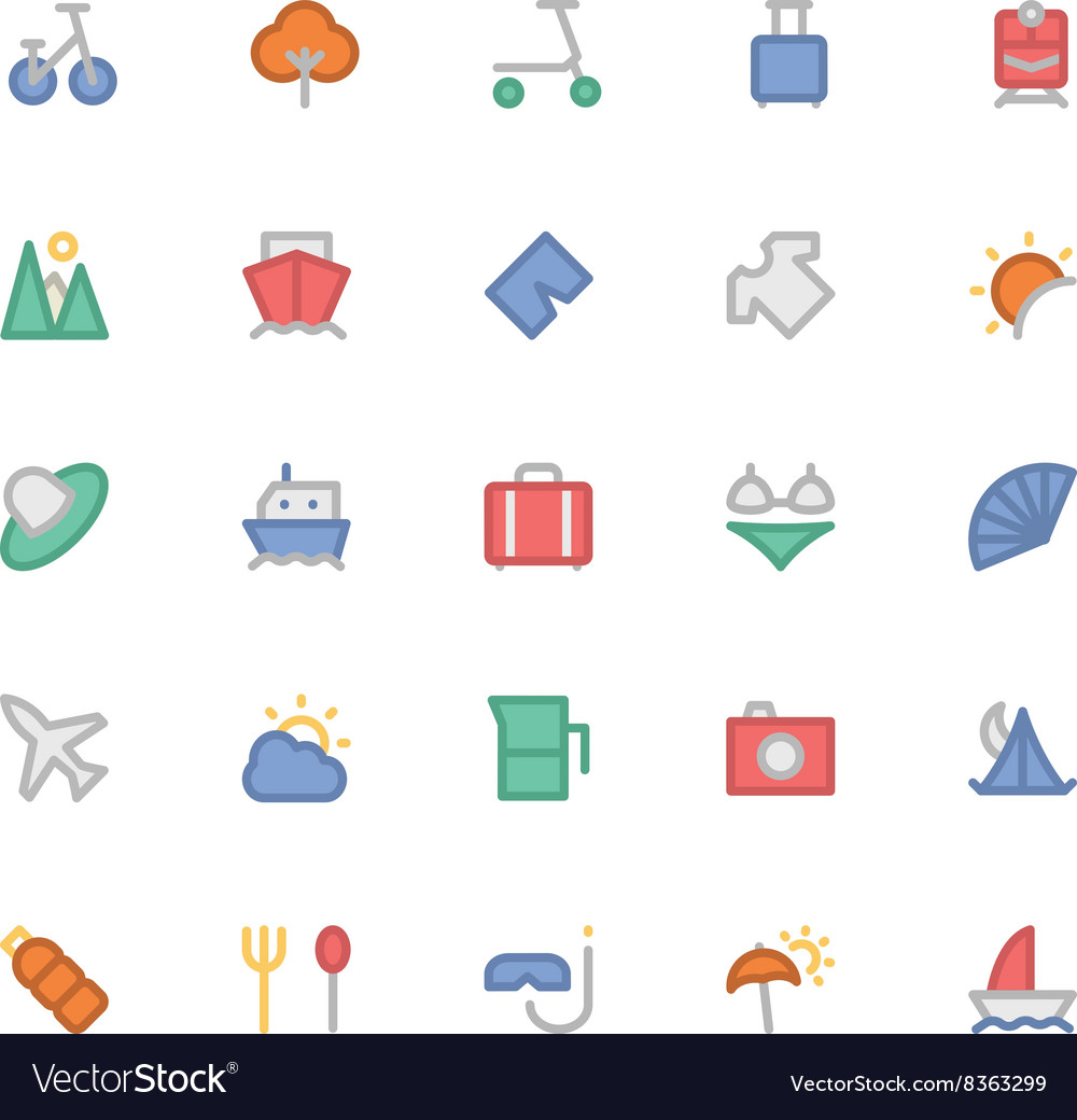 Summer Colored Icons 2 vector image