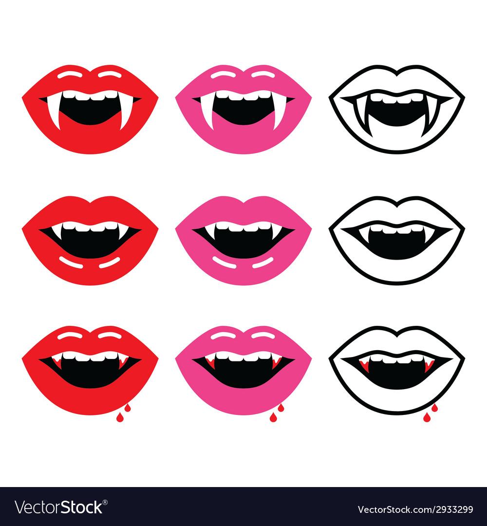 Vampire mouth vampire teeth icons set vector image