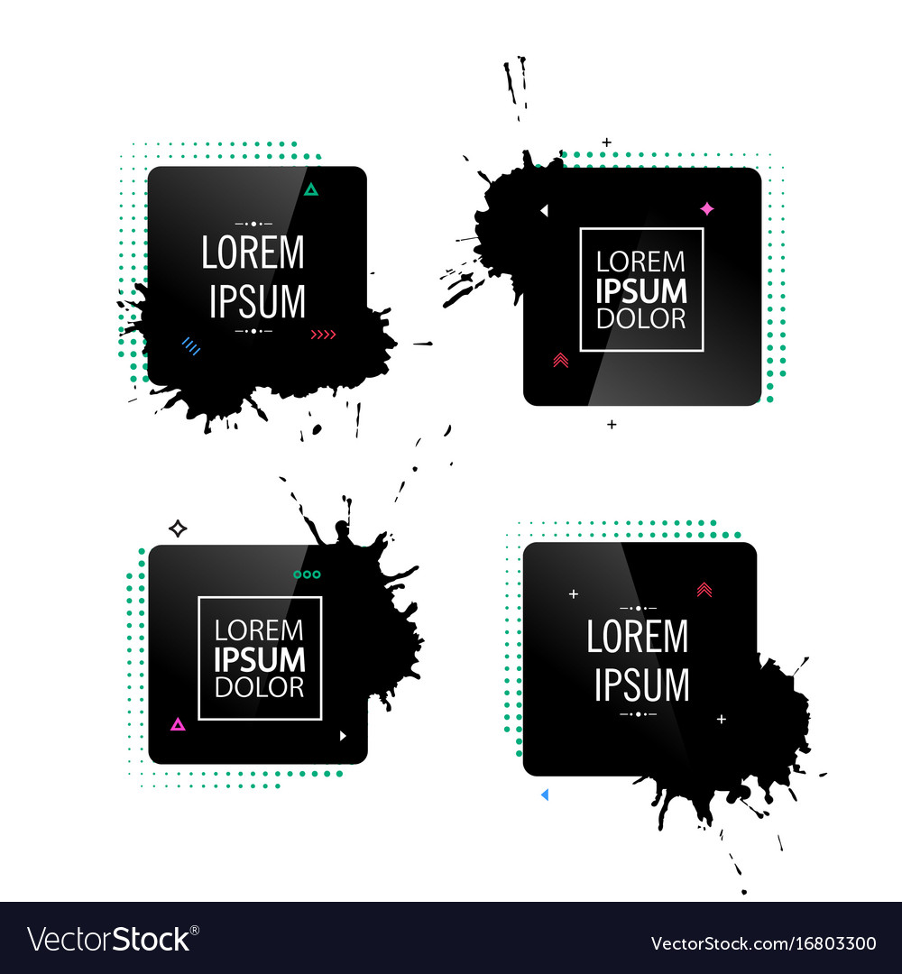 Abstract frame with black splashes vector image