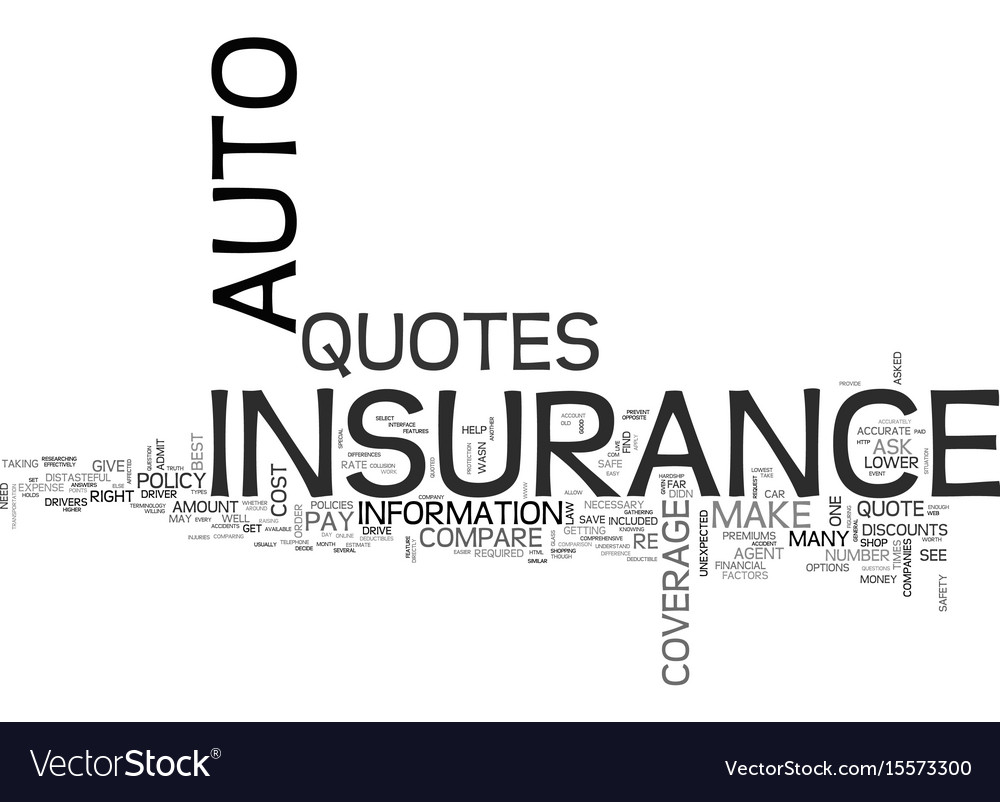 Cloud Quotes Auto Insurance Quotes Text Word Cloud Concept Vector Image
