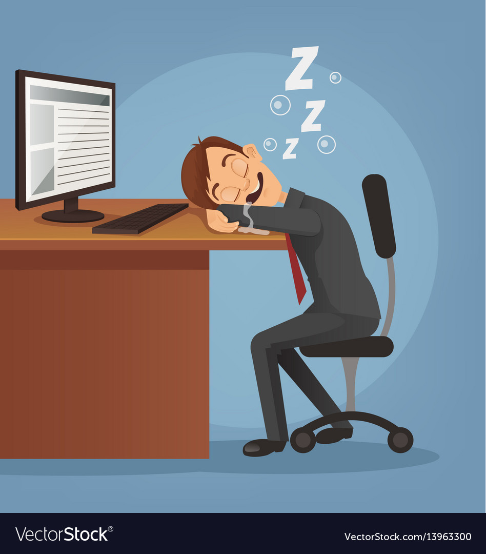 Sleeping happy smiling office worker man vector image