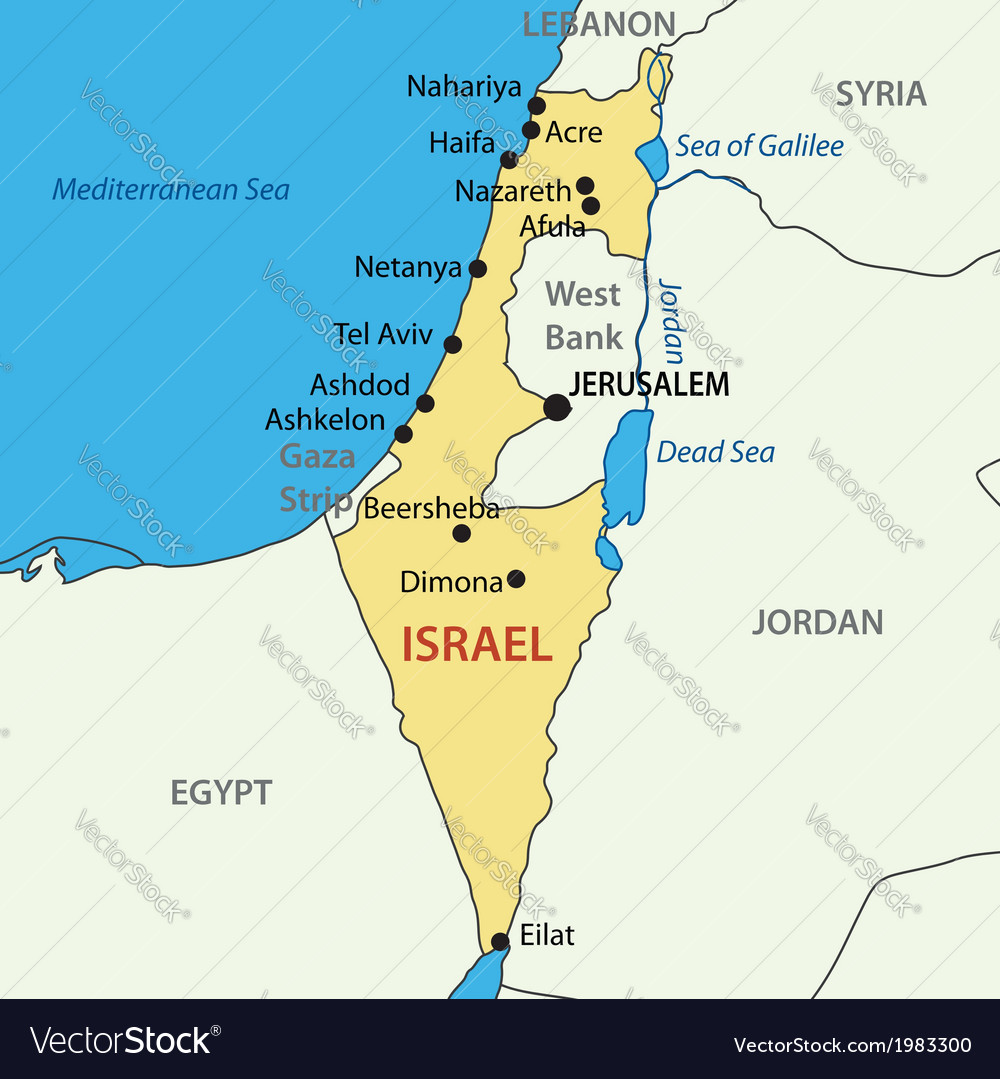 State of Israel map Royalty Free Vector Image