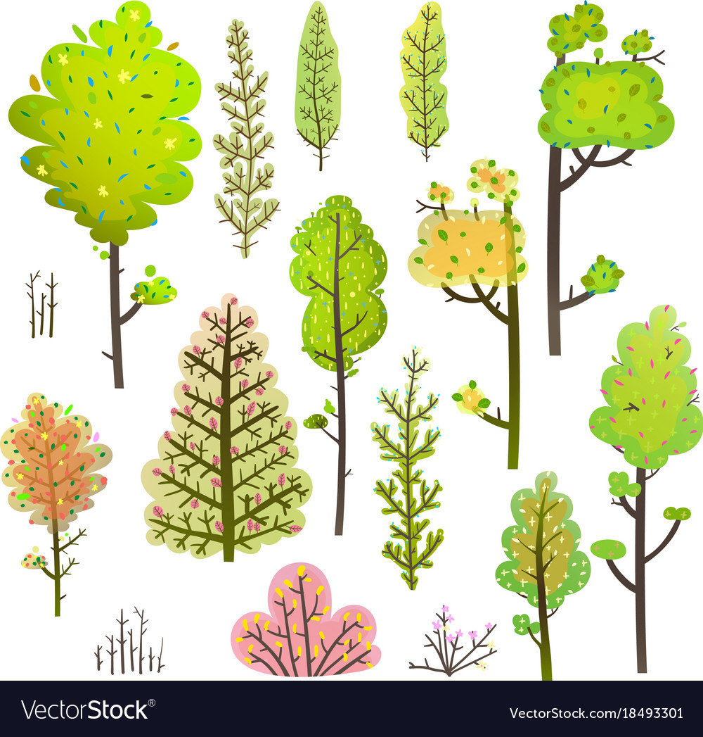 Trees bush green forest clipart collection Vector Image