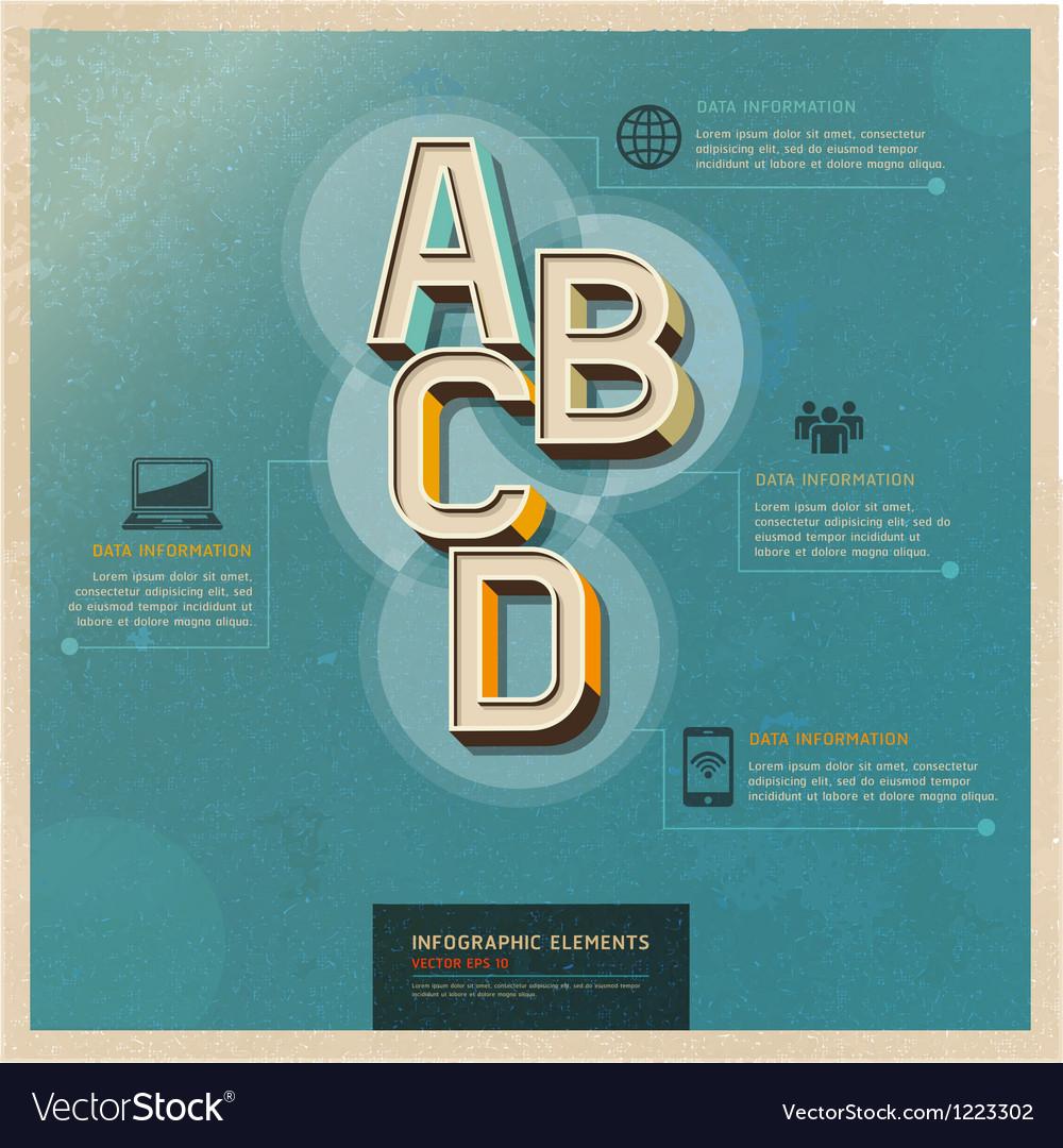 Technology infographics elements retro color vector image