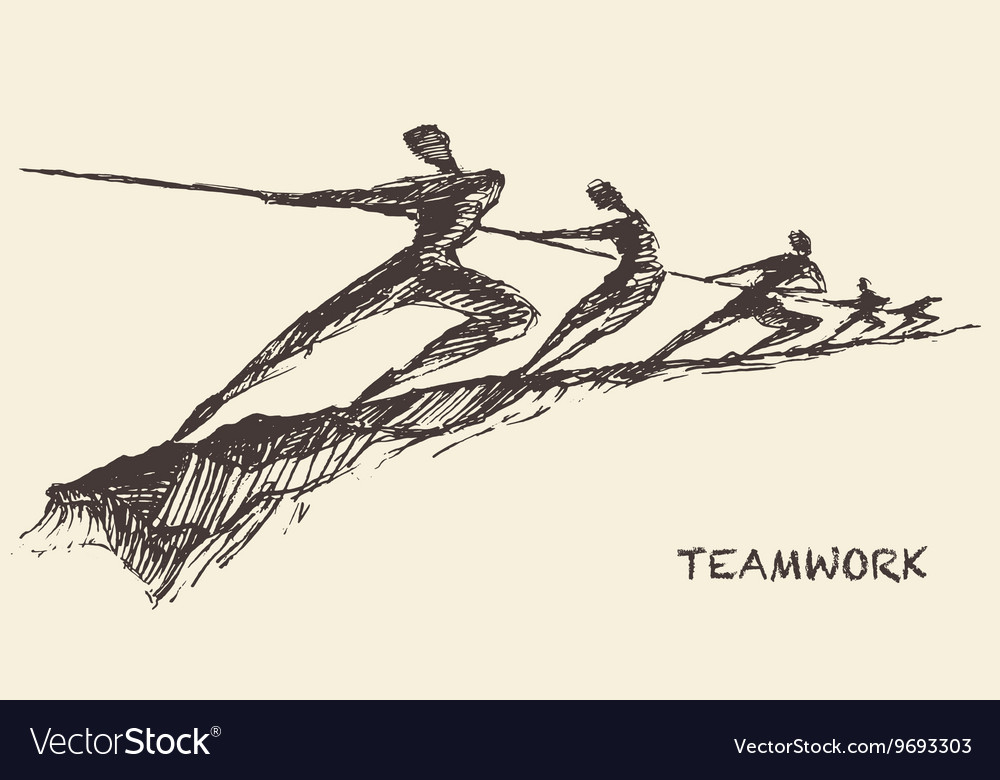Drawn team teamwork partnership concept vector image