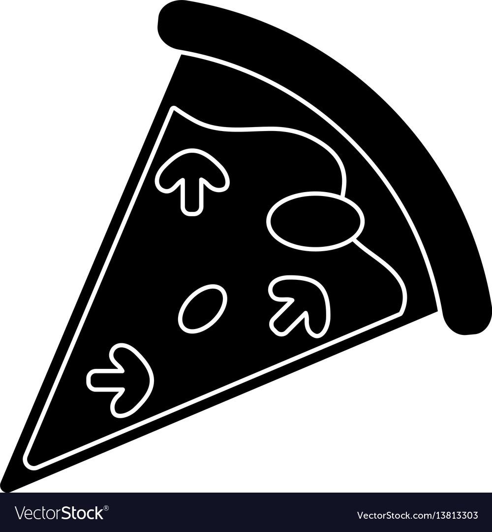 Tasty pizza slice pictogram vector image