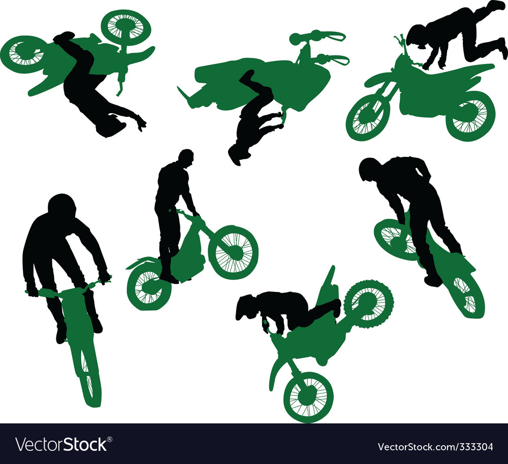 Silhouette of stunt man vector image