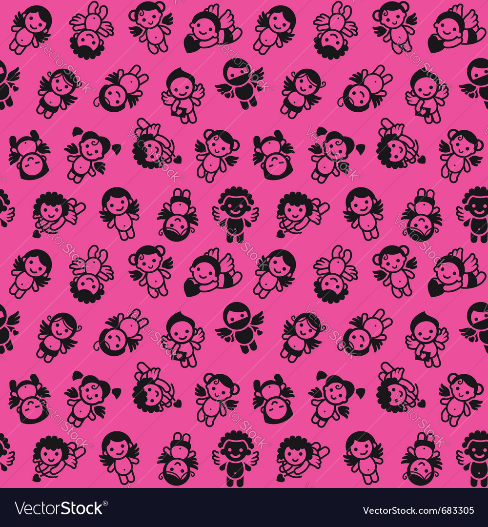 Cupid background wrapping paper vector image