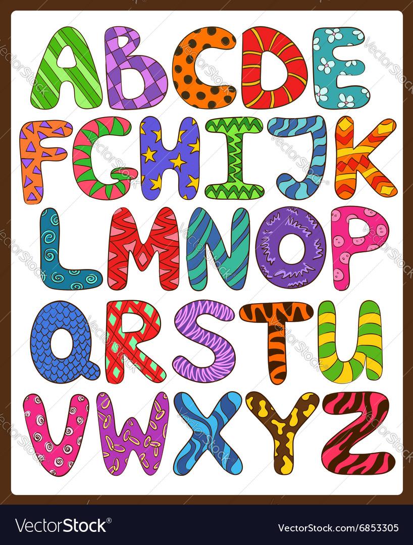 Children Alphabet With Cartoon Capital Letters vector image